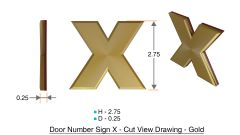 z- APARTMENT, DOOR AND MAILBOX LETTER X SIGN - LETTER SIGN X- GOLD (HIGH QUALITY PLASTIC DOOR SIGNS 0.25 THICK)