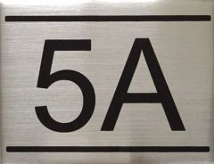 APARTMENT NUMBER SIGN - 5A -BRUSHED ALUMINUM