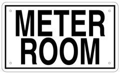 METER ROOM SIGN - WHITE ALUMINUM (6X10)