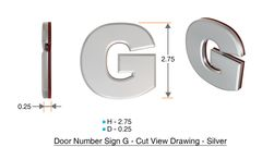 z- APARTMENT, DOOR AND MAILBOX LETTER G SIGN - LETTER SIGN G- SILVER (HIGH QUALITY PLASTIC DOOR SIGNS 0.25 THICK)