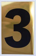 Apartment number sign 3 – (GOLD, ALUMINUM SIGNS 4X2.5)