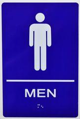 MEN RESTROOM Sign- BRAILLE- BLUE (ALUMINUM SIGNS 9X6)