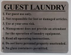 GUEST LAUNDRY SIGN - BRUSHED ALUMINUM (ALUMINUM SIGNS 7X10)