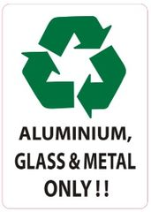 ALUMINIUM, GLASS AND METAL ONLY SIGN (STICKER 7X5)