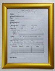 FIRE SAFETY PLAN FRAME - GOLD (STANDARD - ALUMINUM 8.5x11) (SAFETY- PLAN FRAMES 8.5X11)