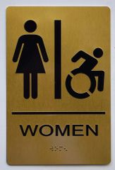 WOMEN ACCESSIBLE RESTROOM Sign - GOLD