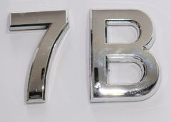 z- APARTMENT, DOOR AND MAILBOX LETTER 7B SIGN - LETTER SIGN 7 B- SILVER (HIGH QUALITY PLASTIC DOOR SIGNS 0.25 THICK)
