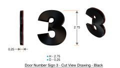 z- APARTMENT, DOOR AND MAILBOX NUMBER THREE SIGN - 3 SIGN- BLACK (HIGH QUALITY PLASTIC DOOR SIGNS 0.25 THICK)