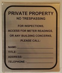 BUILDING ACCESS CONTACT SIGN- BRUSHED ALUMINUM (10X8.5)