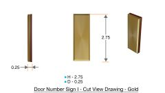 z- APARTMENT, DOOR AND MAILBOX LETTER I SIGN - LETTER SIGN I- GOLD (HIGH QUALITY PLASTIC DOOR SIGNS 0.25 THICK)