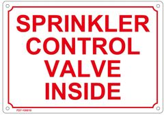 SPRINKLER CONTROL VALVE INSIDE SIGN (ALUMINUM SIGN SIZED 7X10)