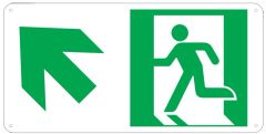 "PHOTOLUMINESCENT EXIT SIGN HEAVY DUTY / GLOW IN THE DARK ""EXIT"" SIGN HEAVY DUTY (ALUMINUM SIGN 4.5 X 9 WITH LEFT UP ARROW AND RUNNING MAN)"