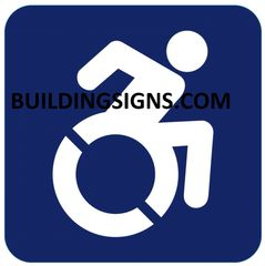 ACCESSIBLE SYMBOL SIGN- BLUE BACKGROUND (ALUMINUM SIGNS 6X6)- The Pour Tous Blue LINE