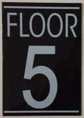 FLOOR NUMBER FIVE (5) SIGN – BLACK (5.75X4)
