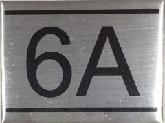 APARTMENT NUMBER SIGN - 6A -BRUSHED ALUMINUM