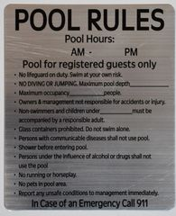 RULES FOR THE POOL AND POOL AREA- BRUSHED ALUMINUM (ALUMINUM SIGNS 12 X 10)
