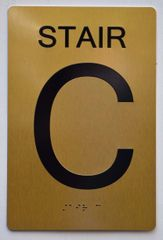 STAIR C SIGN- GOLD