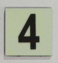 Glow in dark Number 4 sign The Liberty Line (Aluminum SIGNS 1x1, 3 RCNY §505-01)