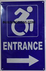 ENTRANCE RIGHT SIGN- BLUE BACKGROUND (ALUMINUM SIGNS 14X9)- The Pour Tous Blue LINE
