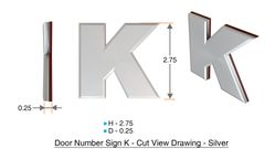 z- APARTMENT, DOOR AND MAILBOX LETTER K SIGN - LETTER SIGN K- SILVER (HIGH QUALITY PLASTIC DOOR SIGNS 0.25 THICK)