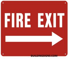 FIRE EXIT RIGHT SIGN- REFLECTIVE !!! (ALUMINUM SIGNS 10X12)