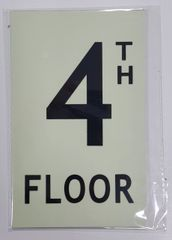 FLOOR NUMBER SIGN - 4TH FLOOR SIGN - PHOTOLUMINESCENT GLOW IN THE DARK SIGN (PHOTOLUMINESCENT ALUMINUM SIGNS 8X5)