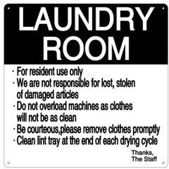 LAUNDRY ROOM RULES SIGN (ALUMINUM 14X14)