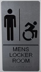 MENS ACCESSIBLE LOCKER ROOM SIGN-SILVER- BRAILLE (ALUMINUM SIGNS 11X6)