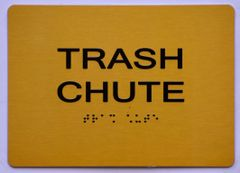 TRASH CHUTE SIGN- GOLD