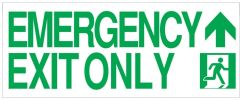 "GLOW IN THE DARK HIGH INTENSITY SELF STICKING PVC GLOW IN THE DARK SAFETY GUIDANCE SIGN - ""EMERGENCY EXIT ONLY"" SIGN 8X19.9 WITH RUNNING MAN AND UP ARROW"
