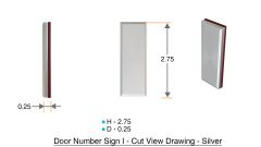 z- APARTMENT, DOOR AND MAILBOX LETTER I SIGN - LETTER SIGN I- SILVER (HIGH QUALITY PLASTIC DOOR SIGNS 0.25 THICK)