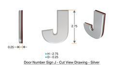 z- APARTMENT, DOOR AND MAILBOX LETTER J SIGN - LETTER SIGN J- SILVER (HIGH QUALITY PLASTIC DOOR SIGNS 0.25 THICK)