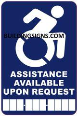 ASSISTANCE AVAILABLE UPON REQUEST PHONE SIGN- BLUE BACKGROUND (ALUMINUM SIGNS 6X4)- The Pour Tous Blue LINE