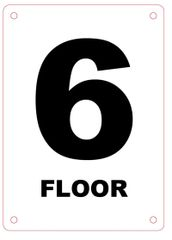 FLOOR NUMBER SIX (6) SIGN - ALUMINIUM