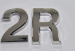 z- APARTMENT, DOOR AND MAILBOX LETTER 2R SIGN - LETTER SIGN 2 R- SILVER (HIGH QUALITY PLASTIC DOOR SIGNS 0.25 THICK)