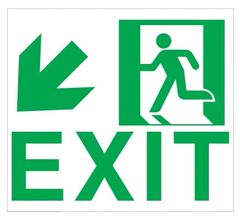 "GLOW IN THE DARK HIGH INTENSITY SELF STICKING PVC GLOW IN THE DARK SAFETY GUIDANCE SIGN - ""EXIT"" SIGN 9X10 WITH RUNNING MAN AND DOWN LEFT ARROW"