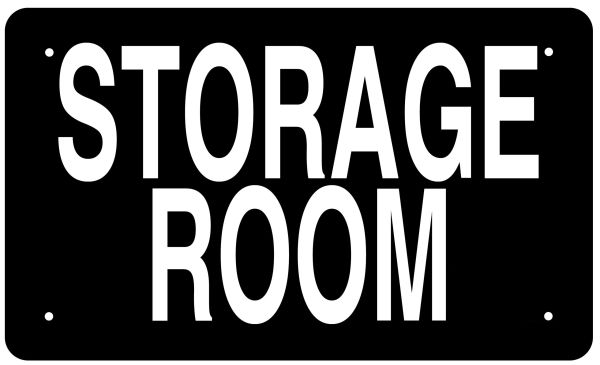 Storage Room Sign Black Background Aluminum Sign Ideal