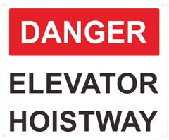 DANGER ELEVATOR HOISTWAY SIGN- RED- WHITE BACKGROUND (ALUMINUM SIGNS 10X12)