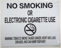 """NYC Smoke free Act Sign """"No Smoking or Electric cigarette Use"""" - With Warning ( 8.5x11, White)"""