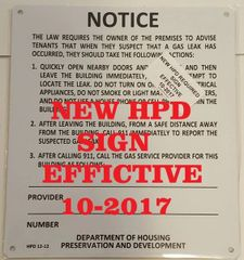 HPD Gas Leak Notice sign HMC § 27-2005
