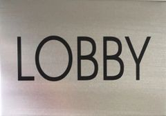 FLOOR NUMBER SIGN - LOBBY - BRUSHED ALUMINIUM