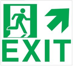 "GLOW IN THE DARK HIGH INTENSITY SELF STICKING PVC GLOW IN THE DARK SAFETY GUIDANCE SIGN - ""EXIT"" SIGN 9X10 WITH RUNNING MAN AND UP RIGHT ARROW"