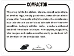 COMPACTOR ROOM RULES SIGN (ALUMINUM SIGNS 8.5X11)