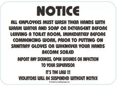 EMPLOYEES MUST WASH HANDS BEFORE LEAVING THIS ROOM SIGN - BRUSHED ALUMINUM (ALUMINUM SIGNS 3.5X8)- The Mont Argent Line