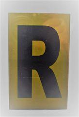 Apartment number sign R – (GOLD ALUMINUM SIGNS 4X2.5)