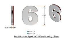 z- APARTMENT, DOOR AND MAILBOX NUMBER SIX SIGN - 6 SIGN- SILVER (HIGH QUALITY PLASTIC DOOR SIGNS 0.25 THICK)