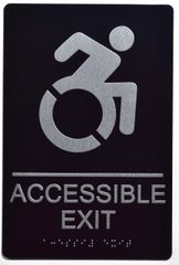 ACCESSIBLE EXIT Sign- BLACK