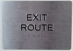 EXIT ROUTE SIGN- BRAILLE (ALUMINUM SIGNS 5X7)