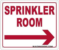SPRINKLER ROOM RIGHT SIGN (ALUMINUM SIGNS 10X12)
