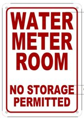 WATER METER ROOM SIGN (ALUMINUM SIGN SIZED 10X7)